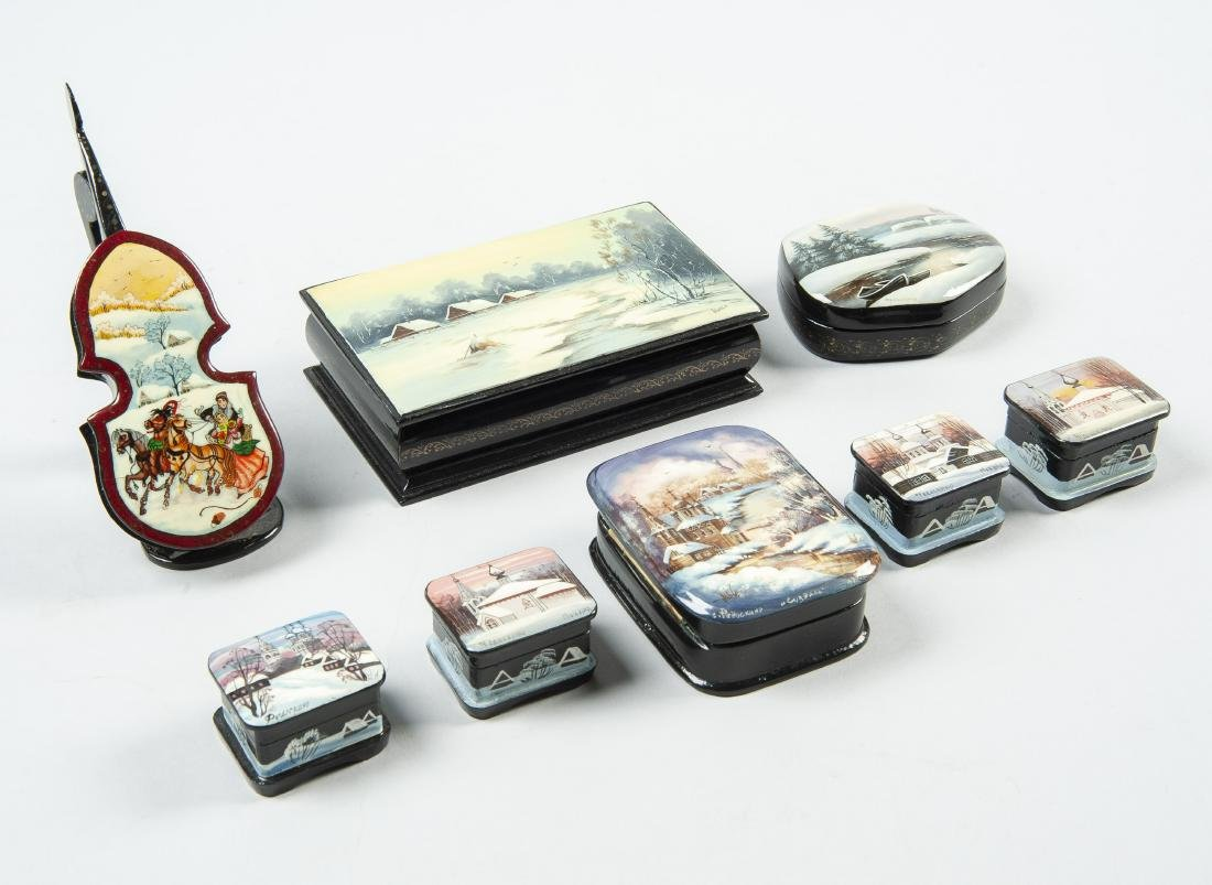 Collection of 8 Russian Winter Theme Lacquer Boxes