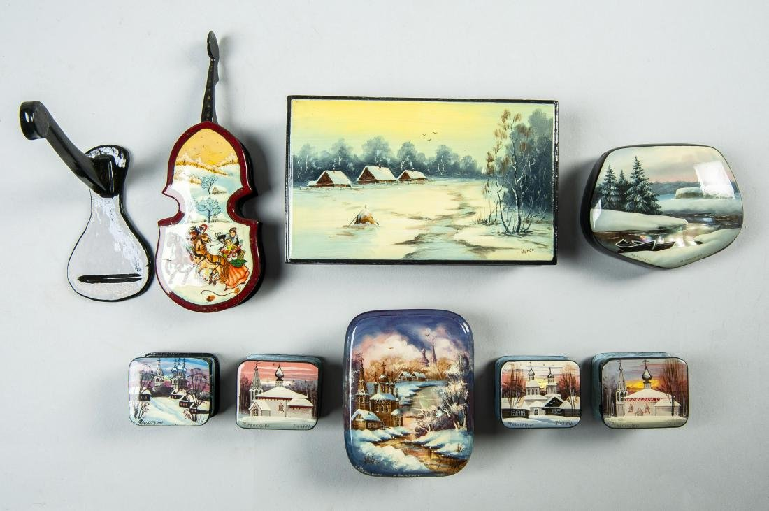 Collection of 8 Russian Winter Theme Lacquer Boxes - 3