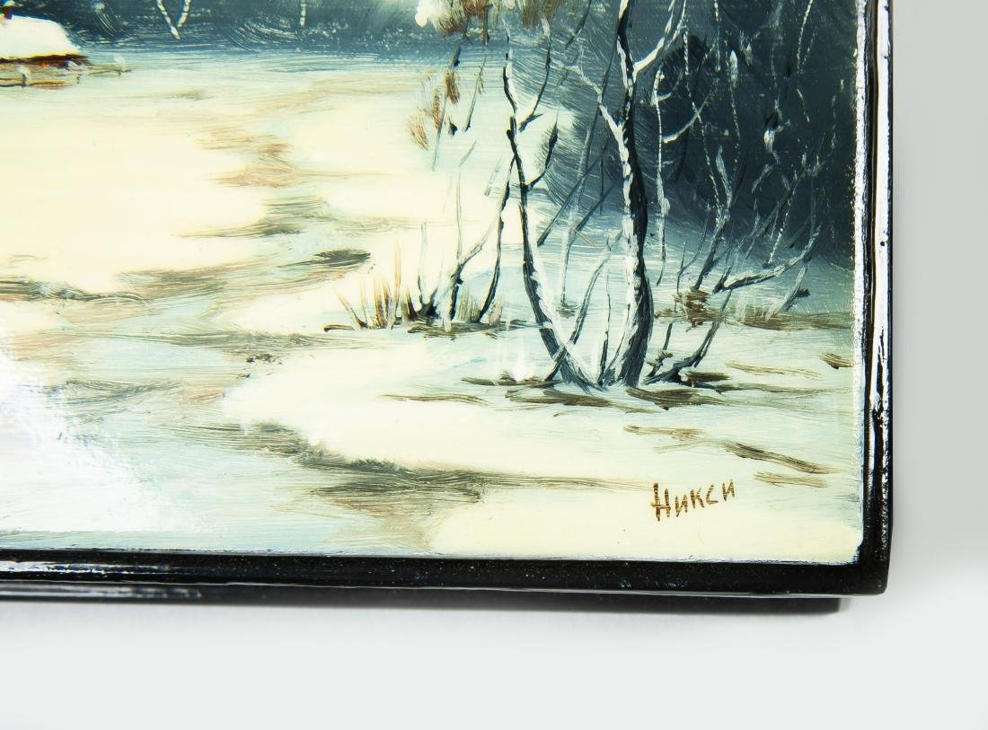 Collection of 8 Russian Winter Theme Lacquer Boxes - 4