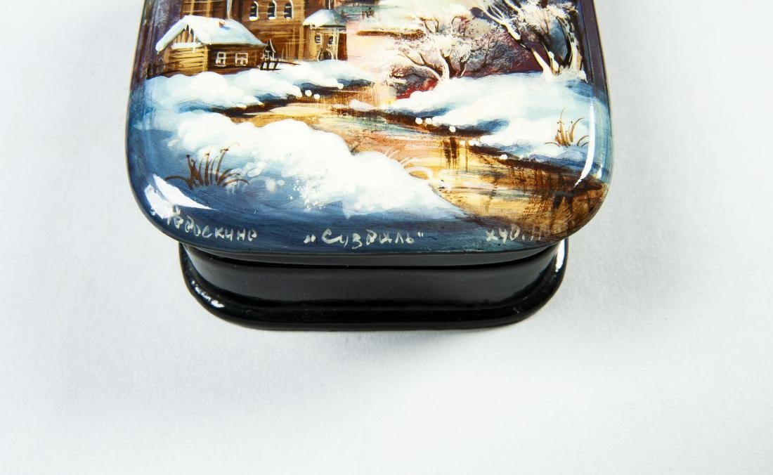 Collection of 8 Russian Winter Theme Lacquer Boxes - 6