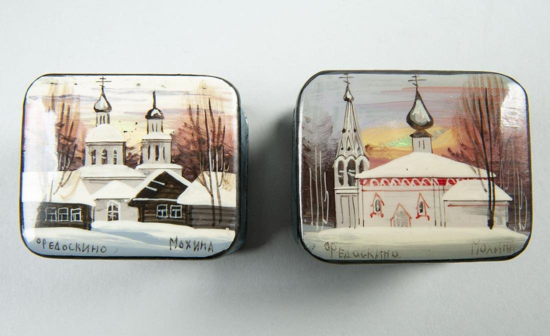Collection of 8 Russian Winter Theme Lacquer Boxes - 7