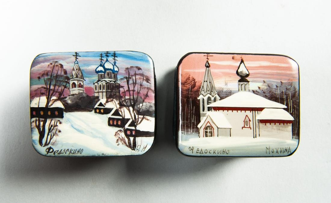 Collection of 8 Russian Winter Theme Lacquer Boxes - 8
