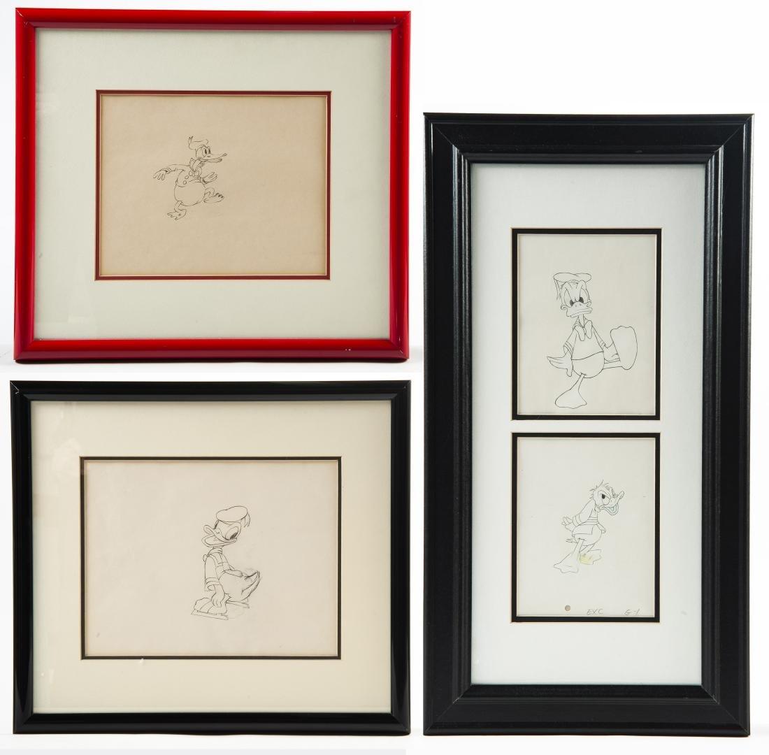3 Framed Original Donald Duck Drawings