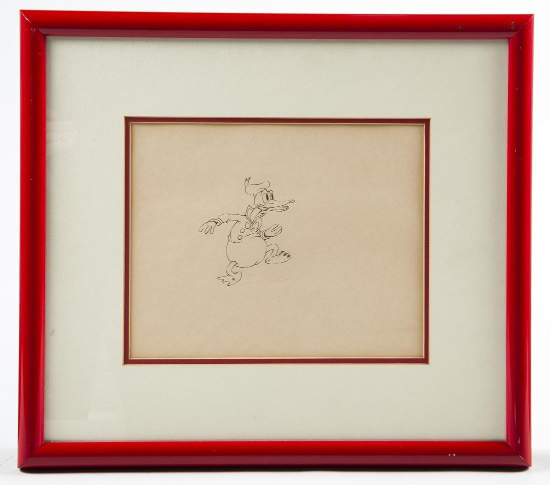 3 Framed Original Donald Duck Drawings - 2