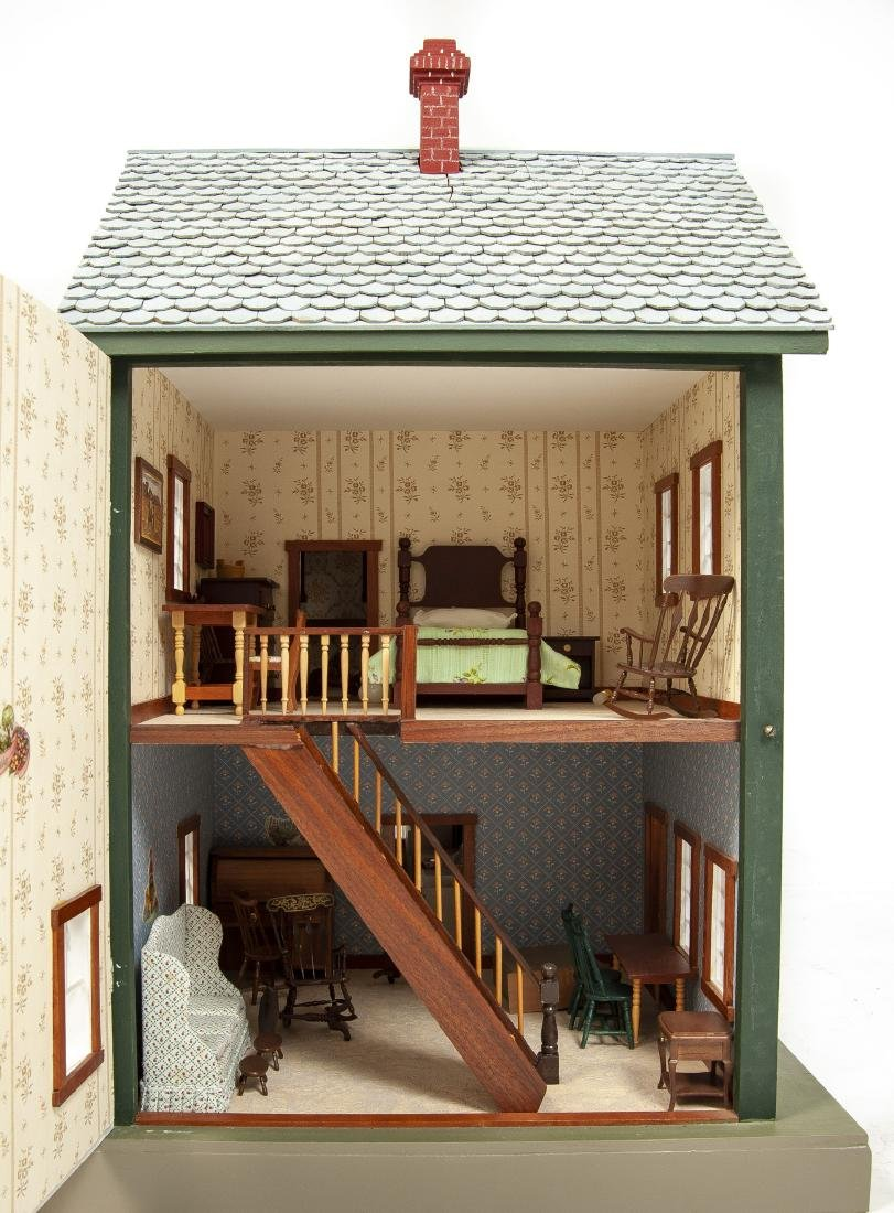 Large Handmade Green Gables Wooden Dollhouse - 6