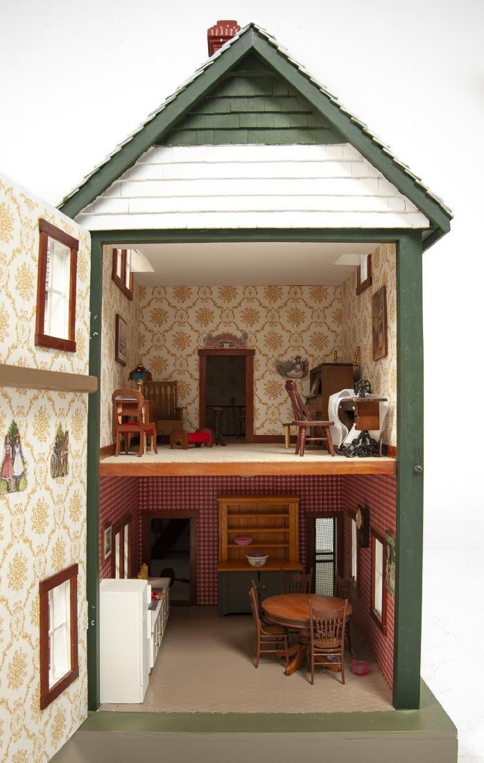 Large Handmade Green Gables Wooden Dollhouse - 7