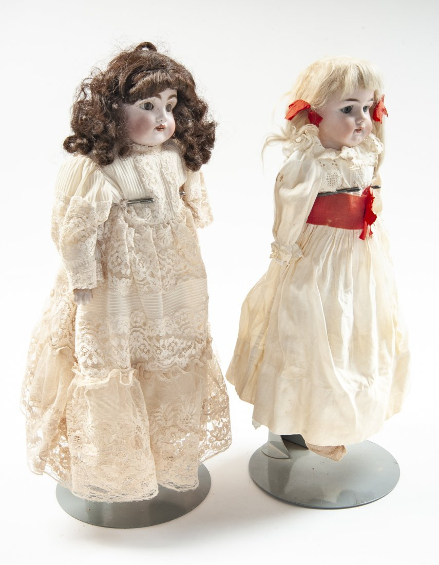 2 German Bisque Head Dolls