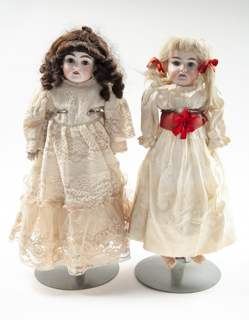 2 German Bisque Head Dolls - 2