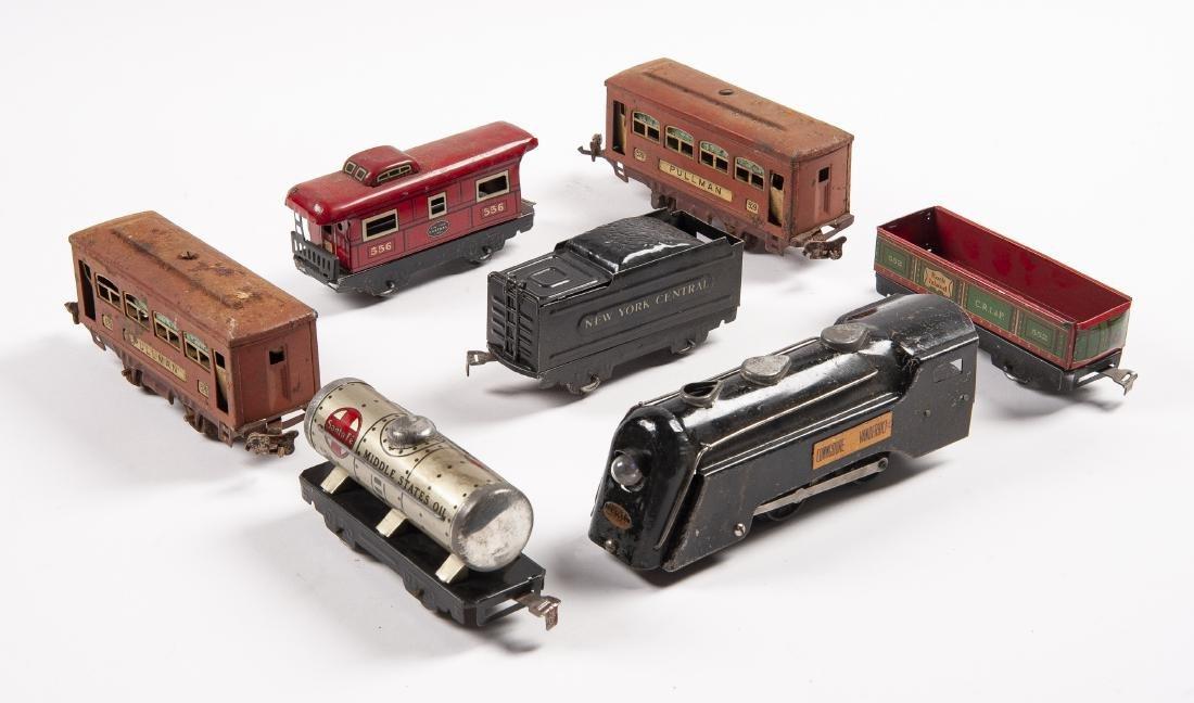 7 Tin Litho Prewar Train Cars Incl Lionel & Marx