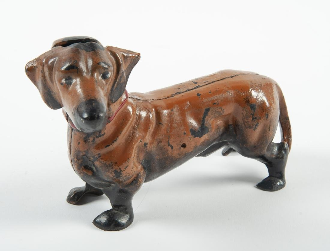 Hubley Cast Iron Dachshund Doorstop or Bank
