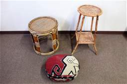 3 Pcs. 2 Rattan Tbs. + Embroidered Foot Stool