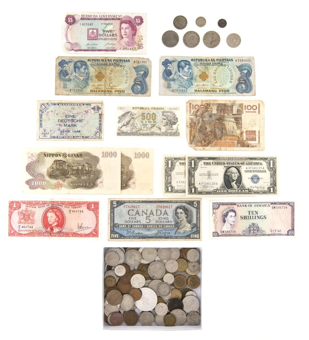 150 Pcs incl Foreign Coins and Silver Certificates