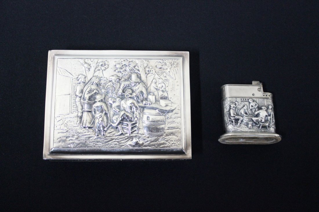 Silver Plate Box and Lighter
