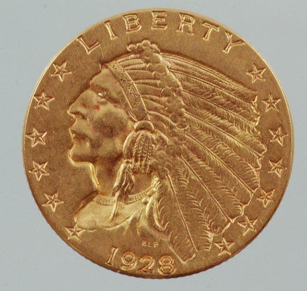 2: 1928 Quarter Eagle 2-1/2 Dollar Gold Piece XF