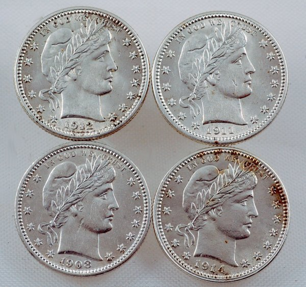 12: 4 Barber Quarters 1908 1911 1912 1914