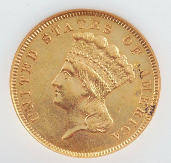 17: 1860 $3 Gold Piece PCI AU55 (Polished)