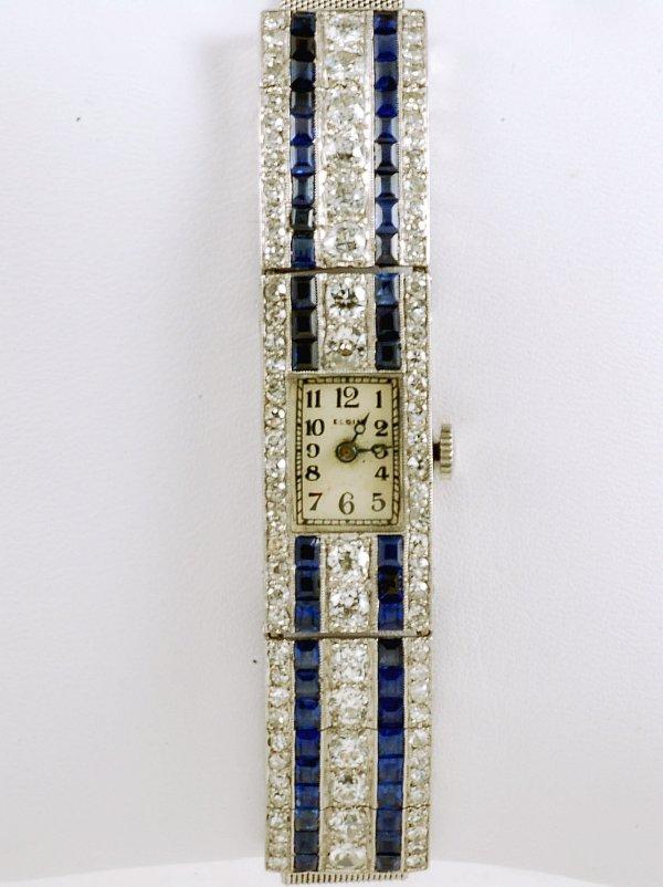 213: Ladies Diamond & Sapphire Art Deco Watch