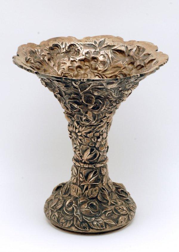 274: C 1917 Stieff Sterling Floral Repousse Vase