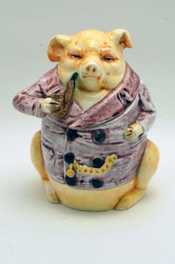 444: Porcelain Figural Pig Tobacco Jar
