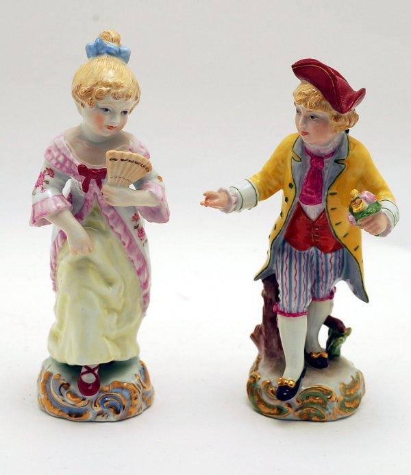 445: 2 Herend Figurines Boy & Girl -Artist Signed
