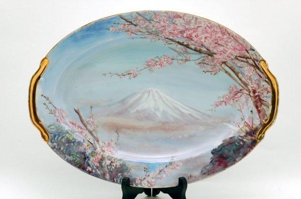 446: Handpainted Scenic Platter Mt. Fuji