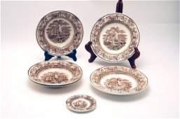 609: 6 Brown American Marine Plates