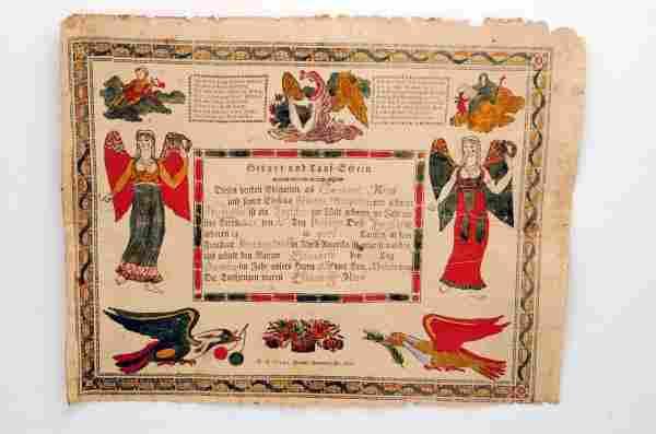 1826 York County Printed Fraktur D.P. Lange