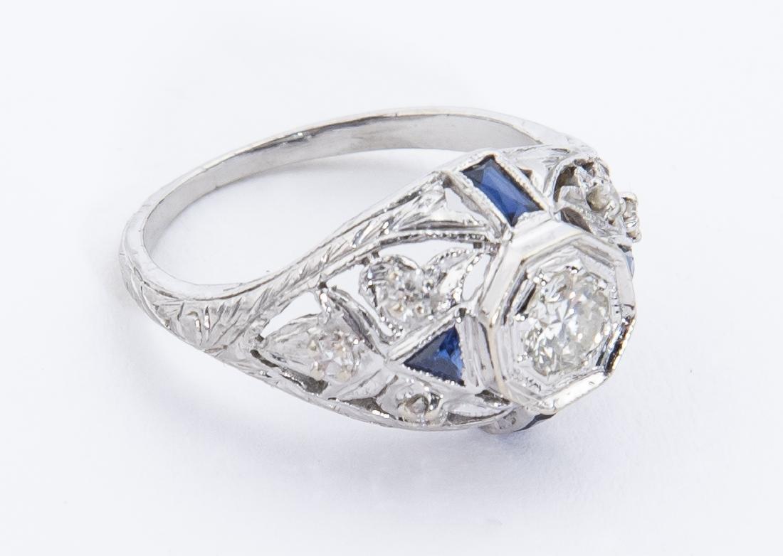 Platinum Filigree Diamond & Sapphire Ring