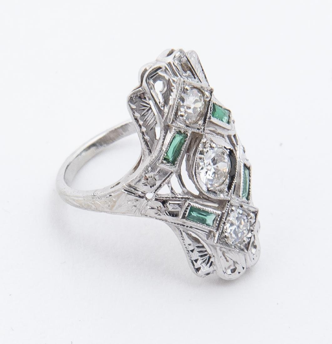 18k Filigree .70 CTW Diamond & Emerald Ring