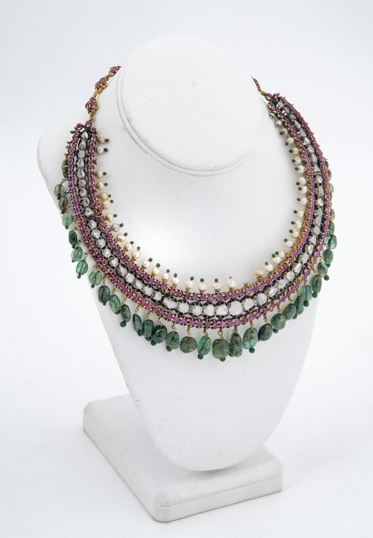 Indian Gemstone & Diamond Necklace