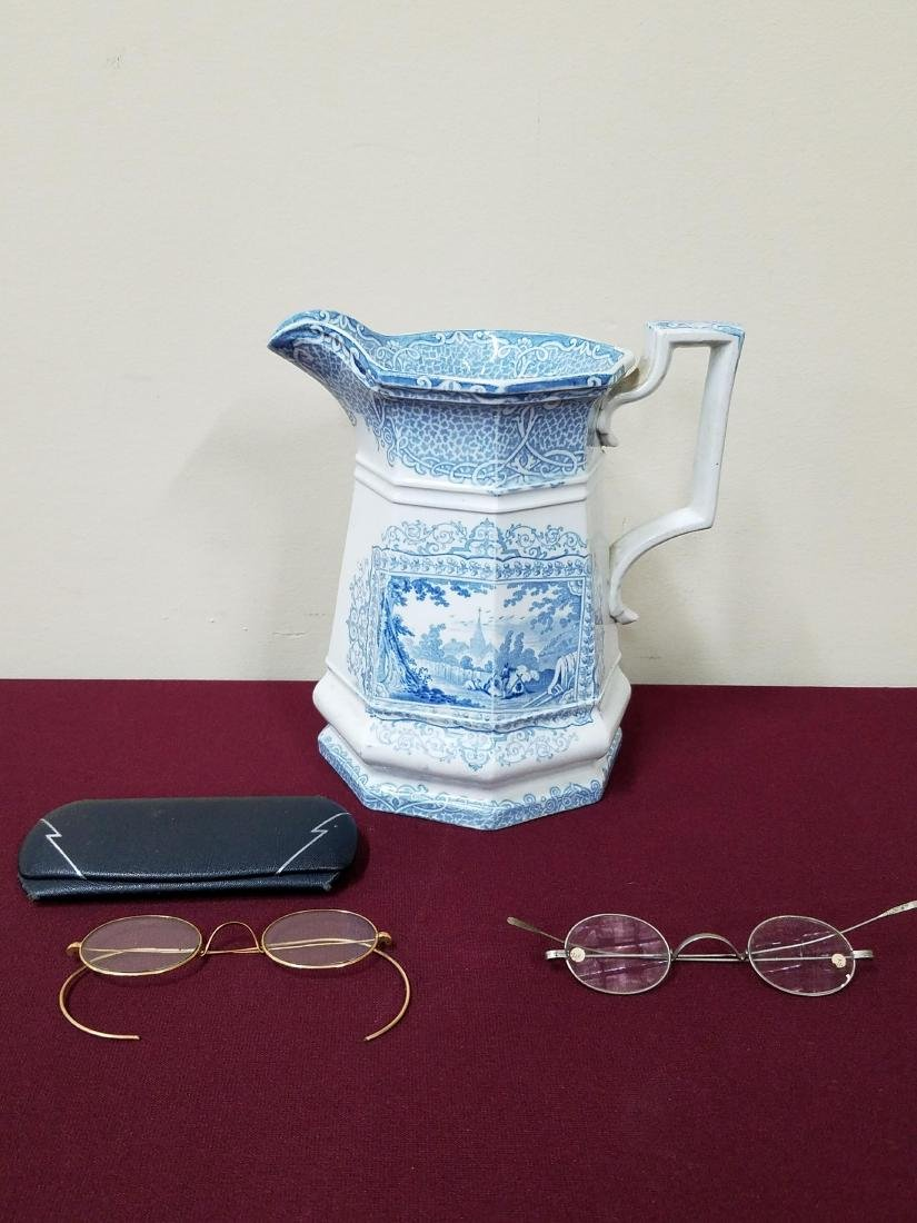 Transferware Pitcher and Antique Eye Glasses