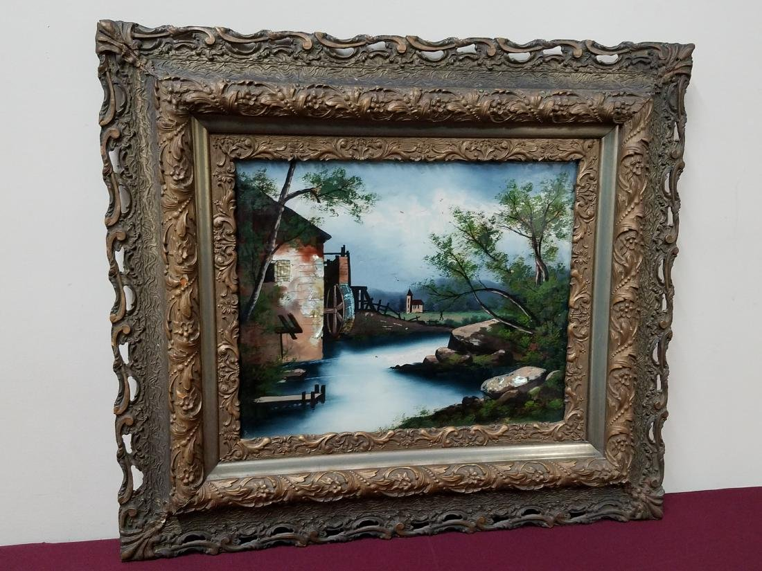 Mill Scene Reverse Glass Painting