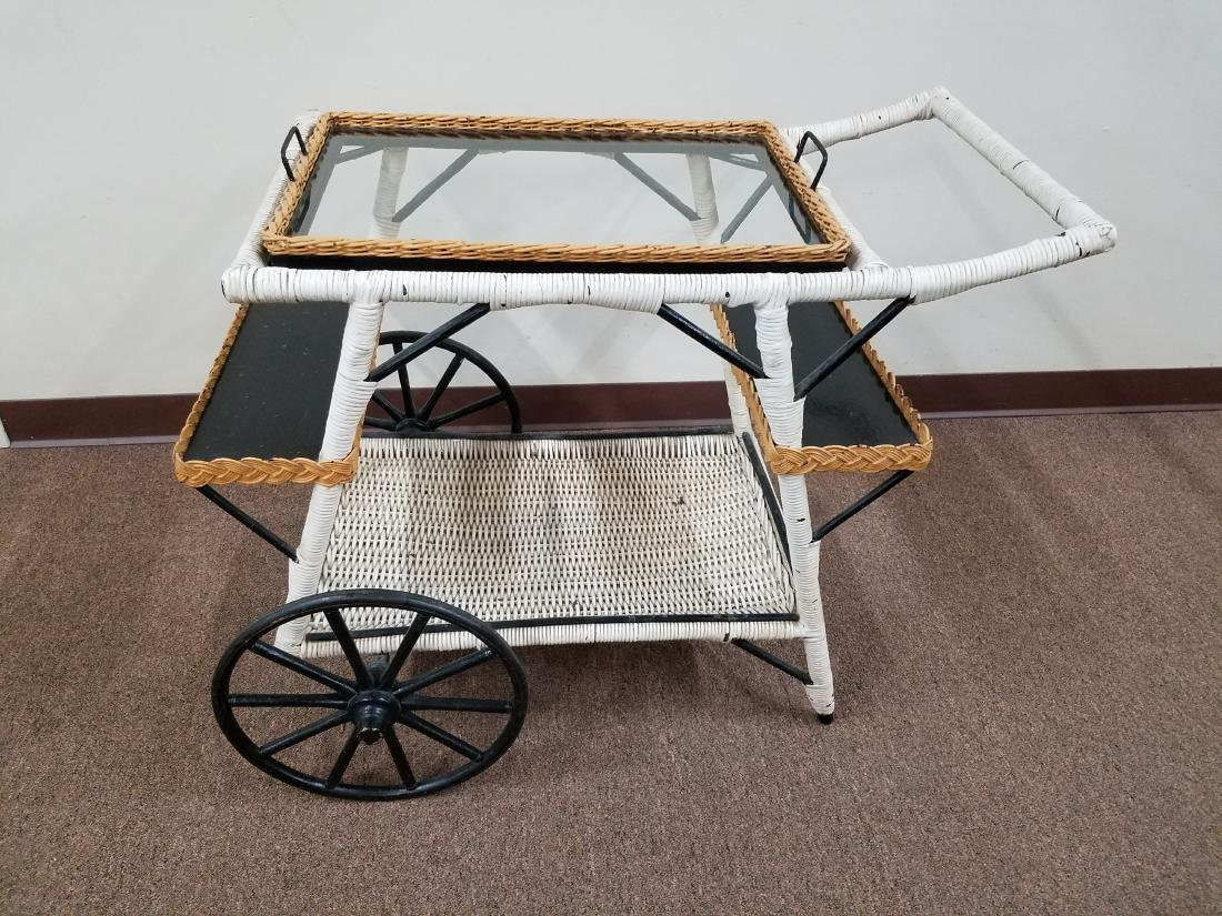 Wicker Tea Cart with Removable Tray