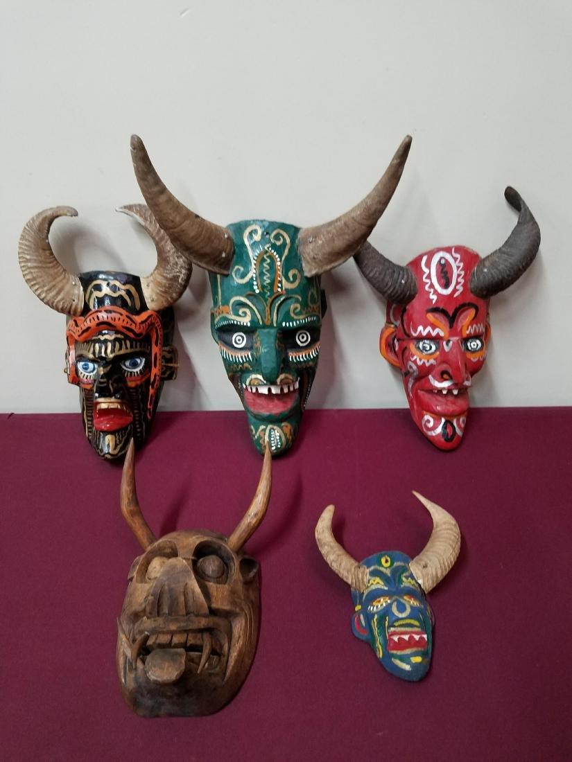 5 Wood Carved Masks