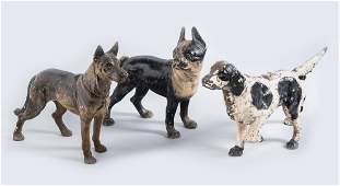 3 Cast Iron Dog Doorstops