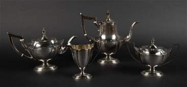 4 Pc Gorham Plymouth Sterling Tea Set