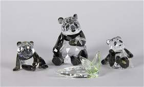 3 Swarovski Endangered Wildlife Panda Figurines