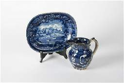 2 Pcs Early Flow Blue Transferware Incl Adams