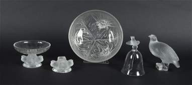 5 Pcs Lalique Frosted Crystal