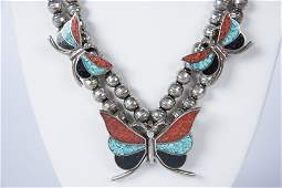 Silver Inlaid Butterfly Necklace