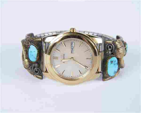E. Jackson Navajo Silver and Turquoise Watch Band