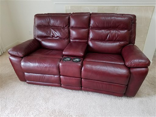 Leather Reclining Sofa With Center Console