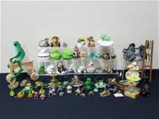 63 Pc Frog Collection incl Carved and Ceramic