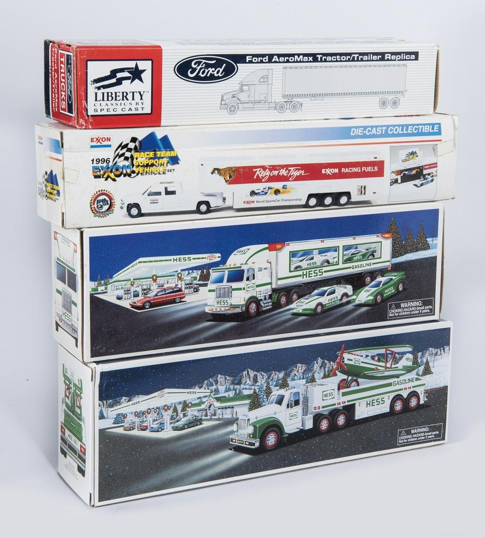 4 Die-Cast Toy Trucks with Trailers in OBs
