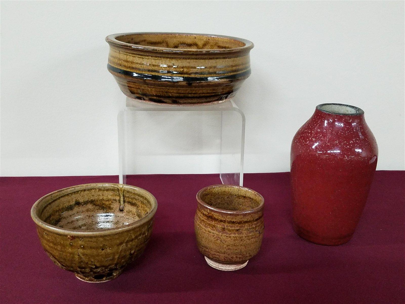 4 Pcs Pottery incl. Sang de Boeuf Vase