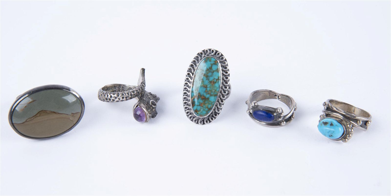 5 Silver and Hardstone Rings