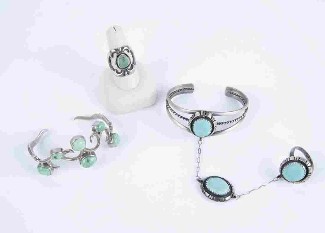 3 Pcs Silver and Turquoise Jewelry