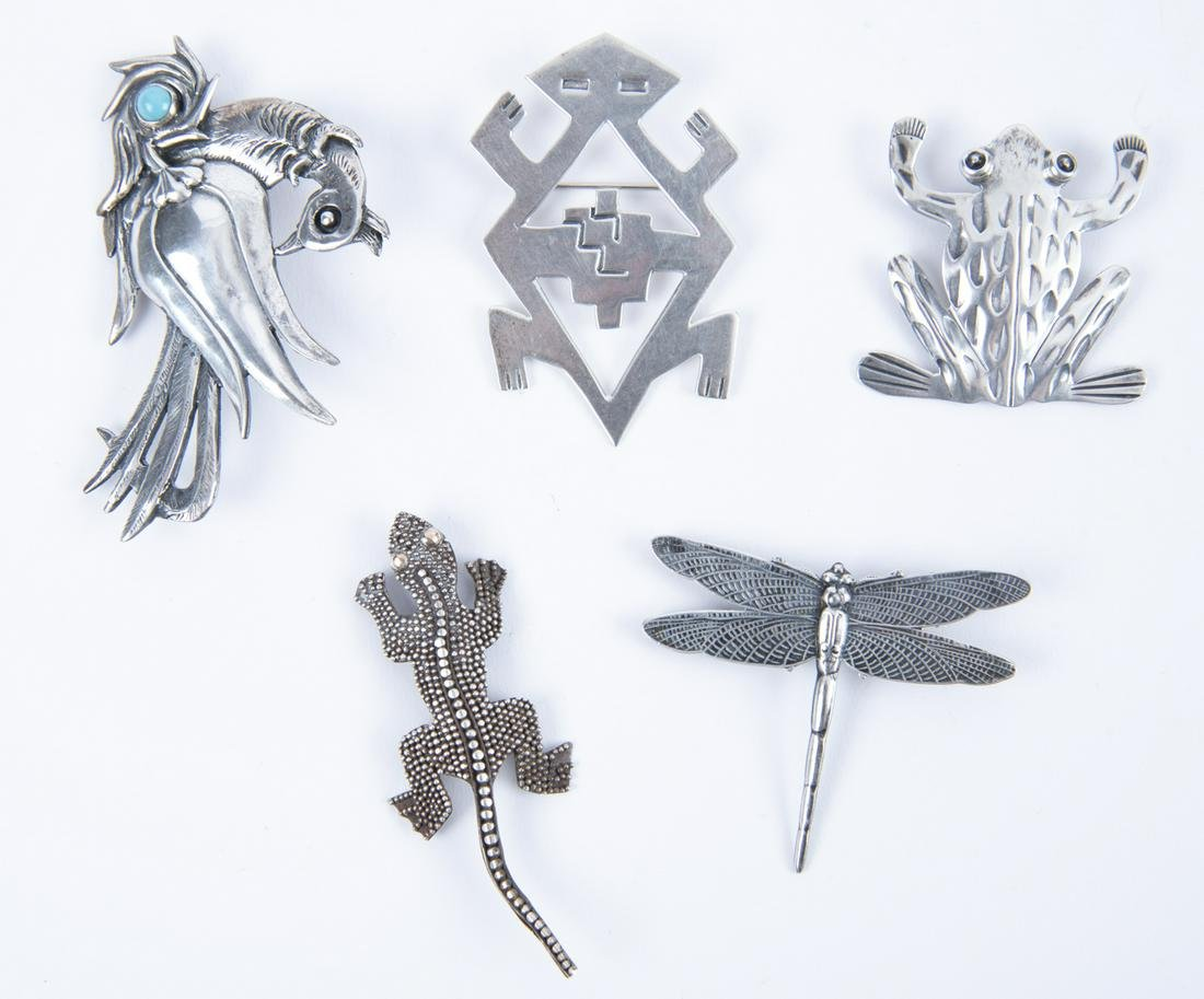 5 Sterling Animal Pins