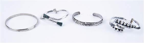 4 Silver Bracelets Including Turquoise