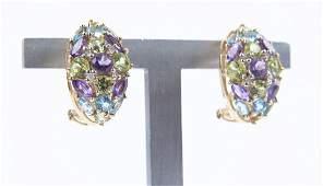 Pair 14k Multi-Stone Clip on Earrings